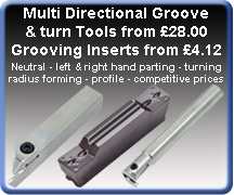 Grooving inserts tools external internal facing