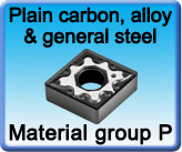 Carbide inserts for turning carbon alloy steel general use
