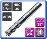 Carbide End Mills Standard Length 4 Flute AlTiN Coated 45HRC