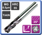 Corner Radius Carbide End Mills 4 Flute TiAlN Coated 55HRC