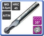 Ball Nose End Mills 2 Flute AlTiN Coated Micro-grain Carbide 45HRC