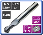 Economy Carbide Ball Nose End Mills 2 Flute TiAlN Coated 45HRC