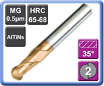 High Hardness High Speed 2 Flute Carbide Ball Nose End Mills 65HRC