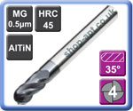 Ball Nose End Mills 4 Flute AlTiN Coated Micro-grain Carbide 45HRC