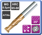 High Hardness High Speed Carbide End Mills 2 Flute 65HRC