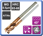 High Strength High Hardness Carbide End Mills 4 Flute 65HRC