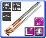High Strength High Hardness Corner Rad Carbide End Mills 4 Flute 65HRC