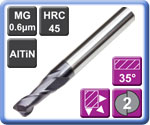 Carbide End Mills Standard Length 2 Flute AlTiN Coated 45HRC