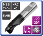 3 Flute Throw Away Slot Drills HSS 8% Co TiAlN Coated 40HRC