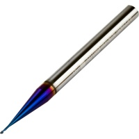 Long Neck End Mill 0.6mm Dia with 0.05mm Corner Rad 2mm Neck Length 50mm Long 68HRC