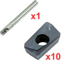 Economy 90° End Milling Set 12mm Diameter 130mm Long with 10 General Purpose  Coated Inserts