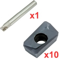 Economy 90° End Milling Set 20mm Diameter 200mm Long with 10 General Purpose  Coated Inserts