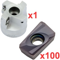 Economy 90° Face Milling Set 50mm Diameter with 100 General Purpose  Coated Inserts