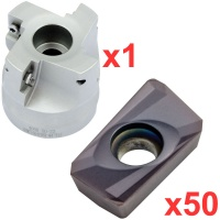 Economy 90° Face Milling Set 63mm Diameter with 50 General Purpose Coated Inserts