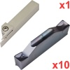 External Grooving Set 16mm Tool with 10 2mm Wide General Purpose Inserts TDC style
